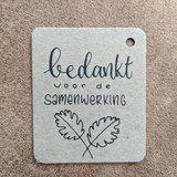 Bedankje zaden in linnenzakje - Bedankt voor de samenwerking_