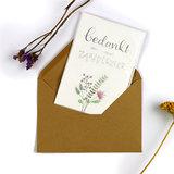 Bloemenzaden met kaart 'Bedankt en veel zaaiplezier' verpakt in pergamijn zakje_