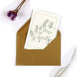 Bloemenzaden met kaart 'groetjes' verpakt in pergamijn zakje_