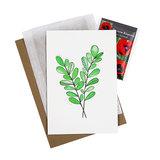 Groen blad - bedankje zaden met kaart in pergamijn zakje