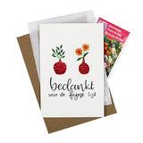 Bedankt voor de fijne tijd - bedankje zaden met kaart in pergamijn zakje