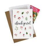 Bloemenzaden met kaart 'Dankjewel' verpakt in pergamijn zakje_
