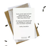 Bloemenzaden met kaart 'Dankjewel dat je me hebt laten groeien' verpakt in pergamijn zakje_