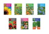 Bloemenzaden met kaart 'Geniet van je pensioen' verpakt in pergamijn zakje_
