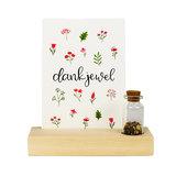 Dankjewel - Bedankje zaden in glazen flesje met kaart en standaard _