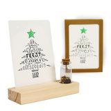 Gezellige feestdagen - Bedankje zaden in glazen flesje met kaart en standaard _