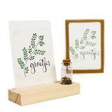 Groetjes - Bedankje zaden in glazen flesje met kaart en standaard _