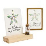 Een bloeiend nieuw jaar - Bedankje zaden in glazen flesje met kaart en standaard _