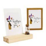 Hartjes voor jou - Bedankje zaden in glazen flesje met kaart en standaard _