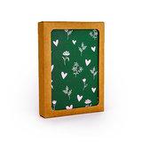 Hartjes en bloemetjes  - Bedankje zaden in glazen flesje met kaart en standaard _