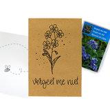 Vergeet me niet - bedankje zaden in kraft zakje met kaartje_