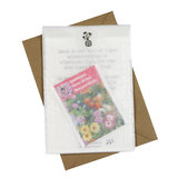 Bloemenzaden met kaart 'Bedankt zorgtopper' verpakt in pergamijn zakje_