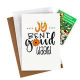 Bloemenzaden met kaart 'Jij bent goud waard' verpakt in pergamijn zakje_