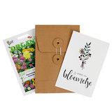 Jij verdient een bloemetje - biologisch bedankje zadenpakket met ansichtkaart _
