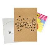 Je bent goud waard - bedankje zaden in kraft zakje met kaartje_