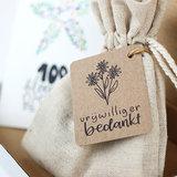 Brievenbus bedankje vrijwilliger bedankt; zaden in linnenzakje met ansichtkaart _