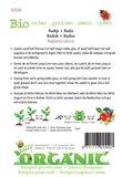 Biologische Radijs Saxa zaden - achterkant