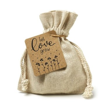 Let Love Grow - Bedankje zaden in linnenzakje