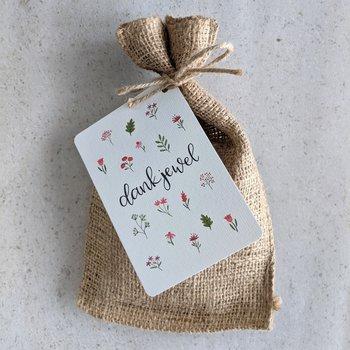 Dankjewel - Bedankje zadenpakket in jute zakje