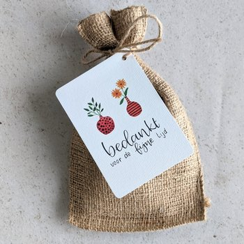 Bedankt voor de fijne tijd - Bedankje zadenpakket in jute zakje