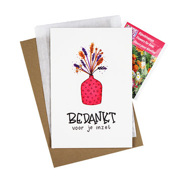 Bloemenzaden met kaart 'Bedankt voor je inzet' verpakt in pergamijn zakje