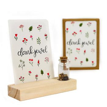 Dankjewel - Bedankje zaden in glazen flesje met kaart en standaard