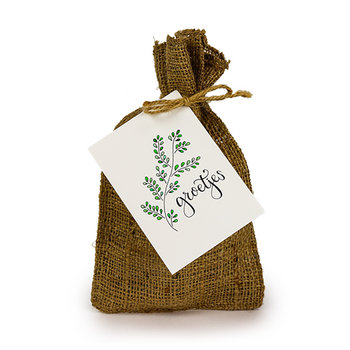 Groetjes - Bedankje zadenpakket in jute zakje