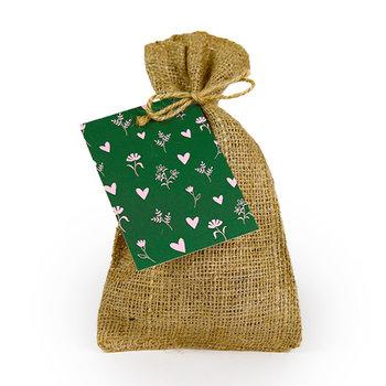 Bloemetjes en hartjes - Bedankje zadenpakket in jute zakje