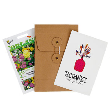Bedankt voor je inzet - biologisch zadenpakket met ansichtkaart