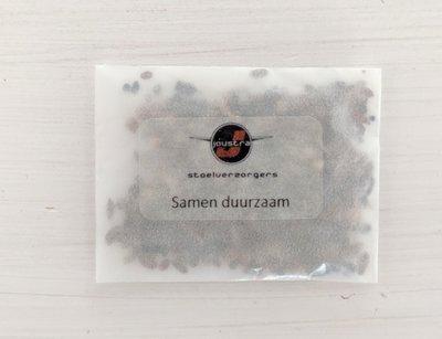 Zaden in zakje met logo