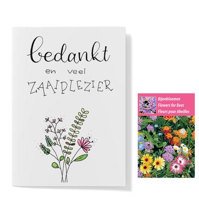 Bloemenzaden met kaart 'veel zaaiplezier' verpakt in pergamijn zakje