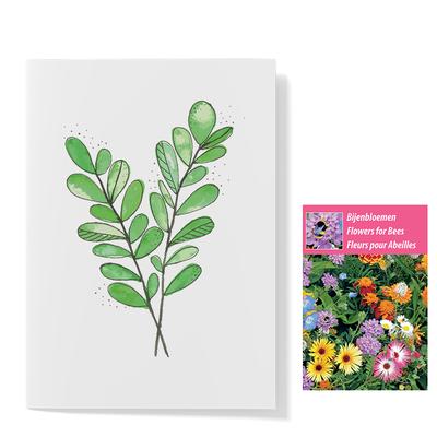 Bloemenzaden met kaart 'groen blad' verpakt in pergamijn zakje