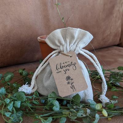 Bedankje zaden in linnenzakje - Een bloemetje voor jou