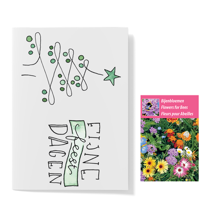Bloemenzaden met kaart 'Fijne feestdagen kerstboom' verpakt in pergamijn zakje