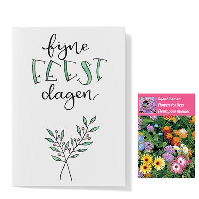Bloemenzaden met kaart 'Fijne feestdagen kerst blad' verpakt in pergamijn zakje