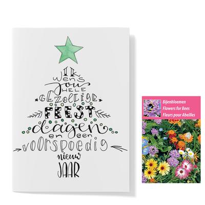 Bloemenzaden met kaart 'ik wens jou fijne feestdagen' verpakt in pergamijn zakje