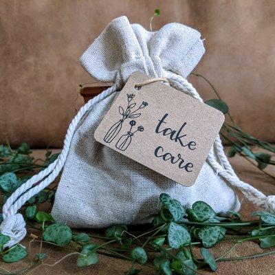 Bedankje zaden in linnenzakje - Take care