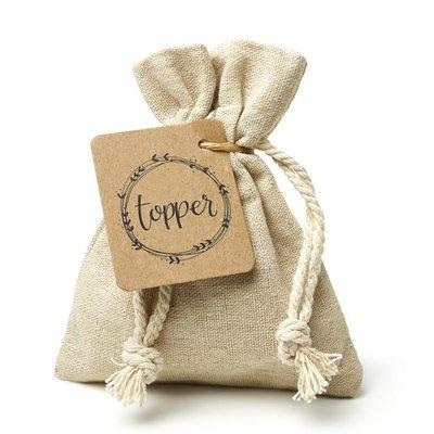 Topper - Bedankje zaden in linnenzakje