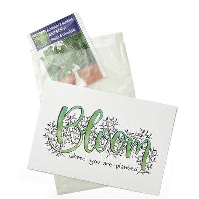 Bloemenzaden met kaart 'bloom where youre planted' verpakt in pergamijn zakje