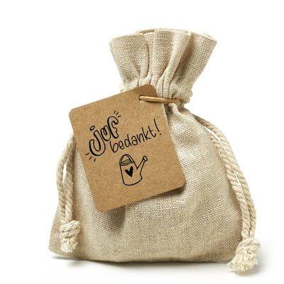 Juf bedankt - bedankje zaden in linnenzakje