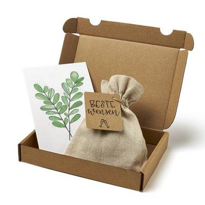 Beste wensen - Brievenbus bedankje; zaden in linnenzakje met ansichtkaart