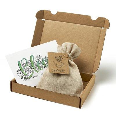 Geslaagd - Brievenbus bedankje; zaden in linnenzakje met ansichtkaart