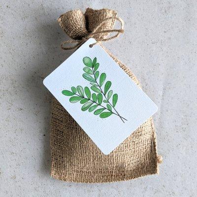 Groen blad - Bedankje zadenpakket in jute zakje
