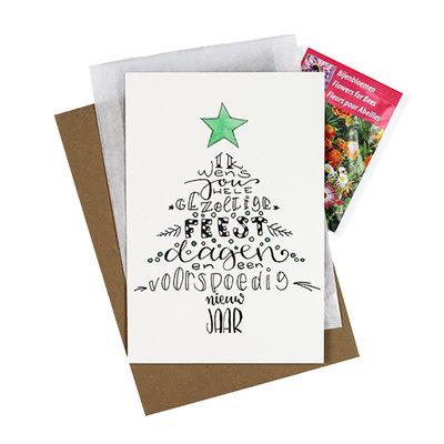 Bloemenzaden met kaart 'Gezellige feestdagen' verpakt in pergamijn zakje