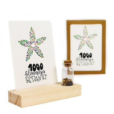 1000 bloemetjes bedankt - Bedankje zaden in glazen flesje met kaart en standaard
