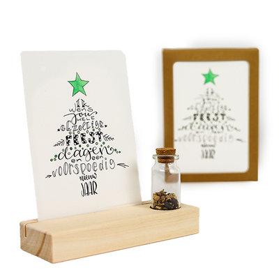 Gezellige feestdagen - Bedankje zaden in glazen flesje met kaart en standaard