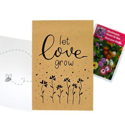 Let love grow - bedankje zaden in kraft zakje met kaartje
