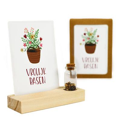 Vrolijk pasen - Bedankje zaden in glazen flesje met kaart en standaard
