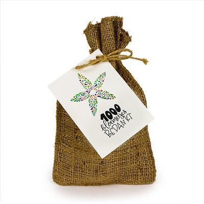 1000 bloemetjes bedankt - Bedankje zadenpakket in jute zakje
