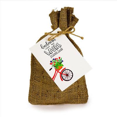 Bedankt voor het leuke schooljaar - Bedankje zadenpakket in jute zakje